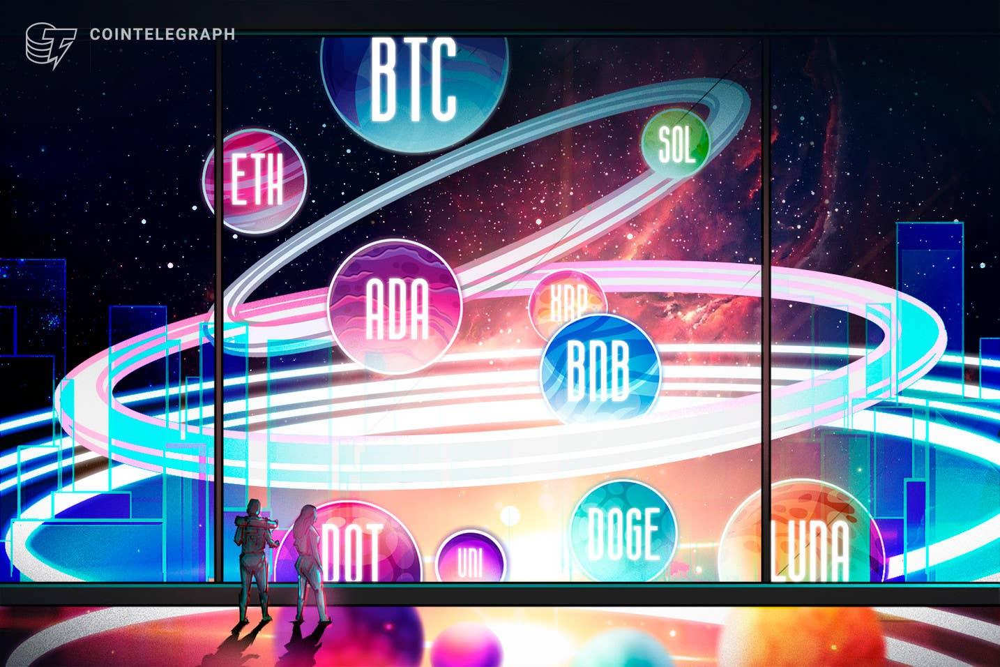 Kainų analizė 9/15: BTC, ETH, ADA, BNB, XRP, SOL, DOT, DOGE, UNI, LUNA
