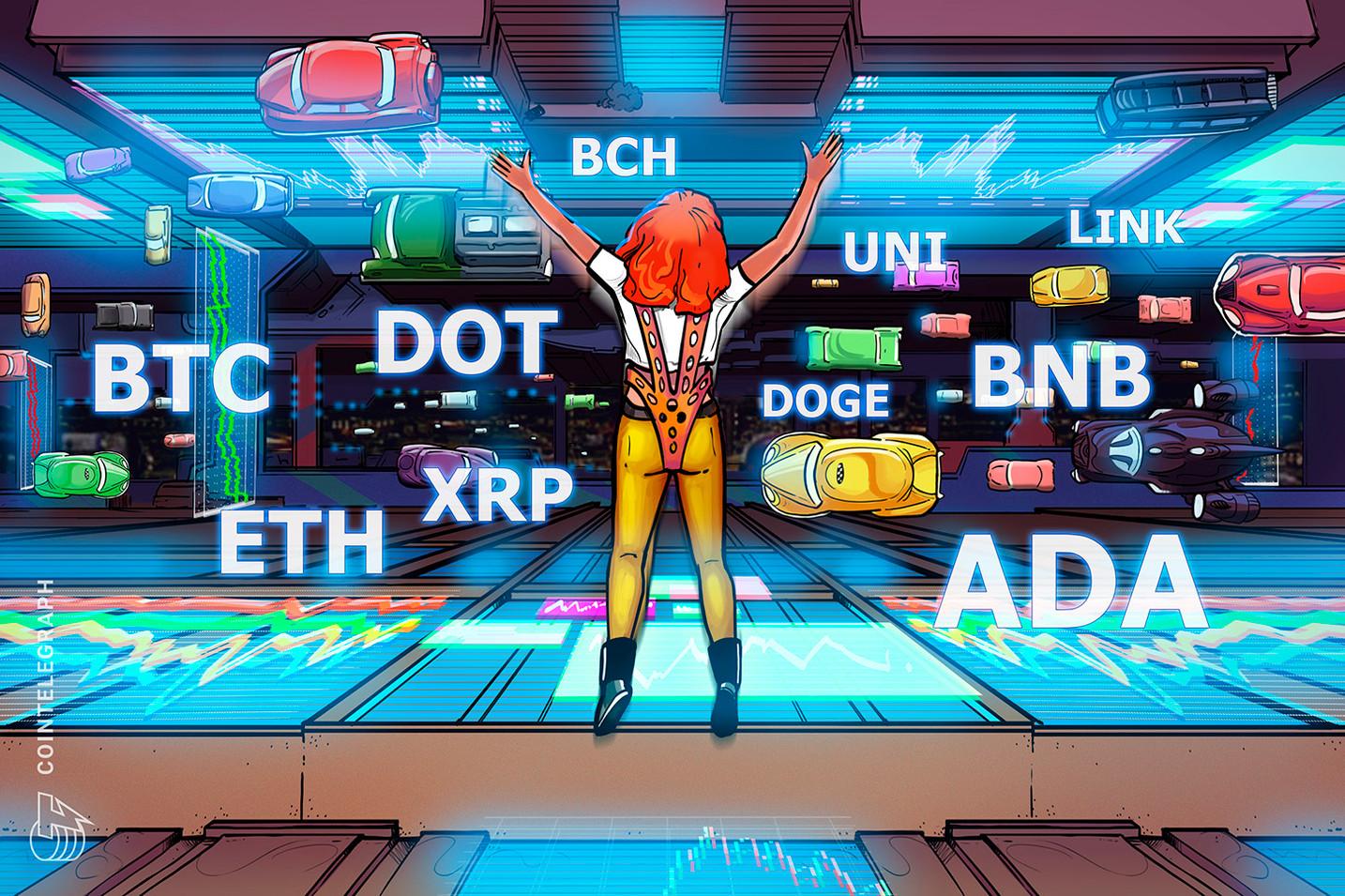 Cenová analýza 8/2: BTC, ETH, BNB, ADA, XRP, DOGE, DOT, UNI, BCH, LINK