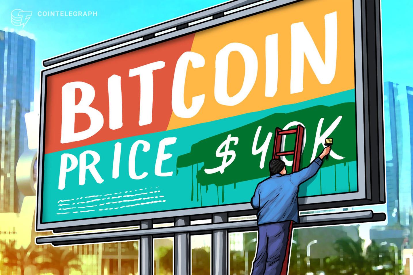Bitcoin poskuša v dveh dneh drugič zlomiti 40 tisoč dolarjev