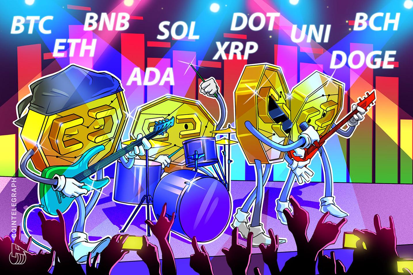Prijsanalyse 7/7: BTC, ETH, BNB, ADA, DOGE, XRP, DOT, UNI, BCH, SOL