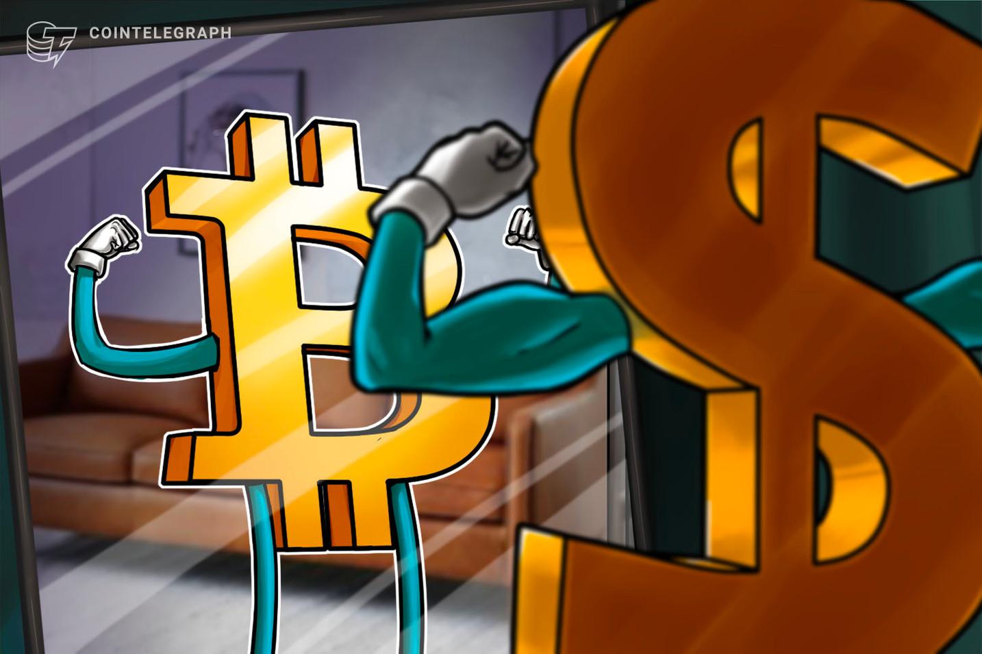 Grande padrão de alta no gráfico de índice do dólar americano coloca o Bitcoin em risco de perder US $ 30 mil