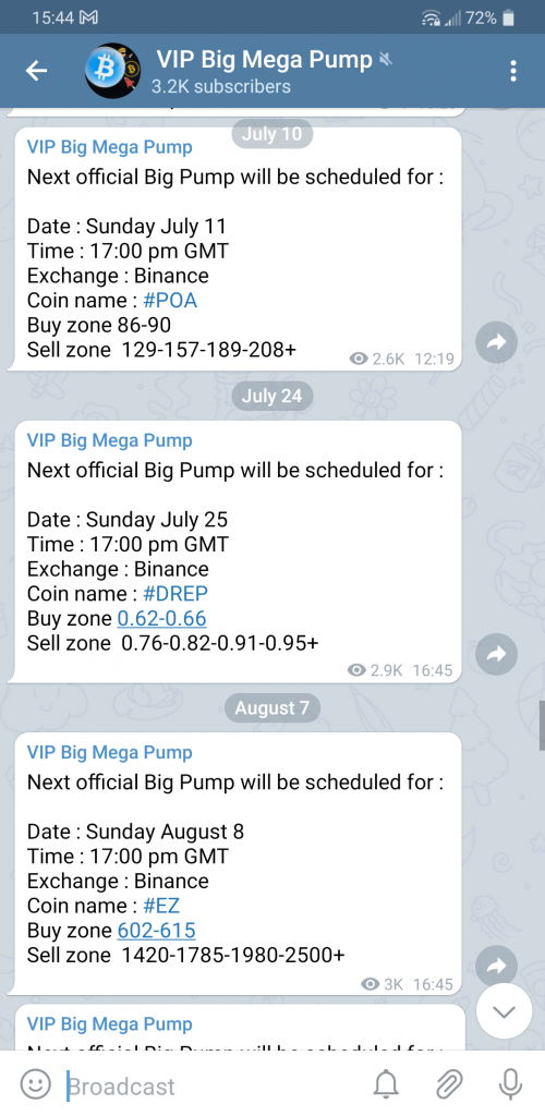 VIP Big Mega Pump sinais de canal