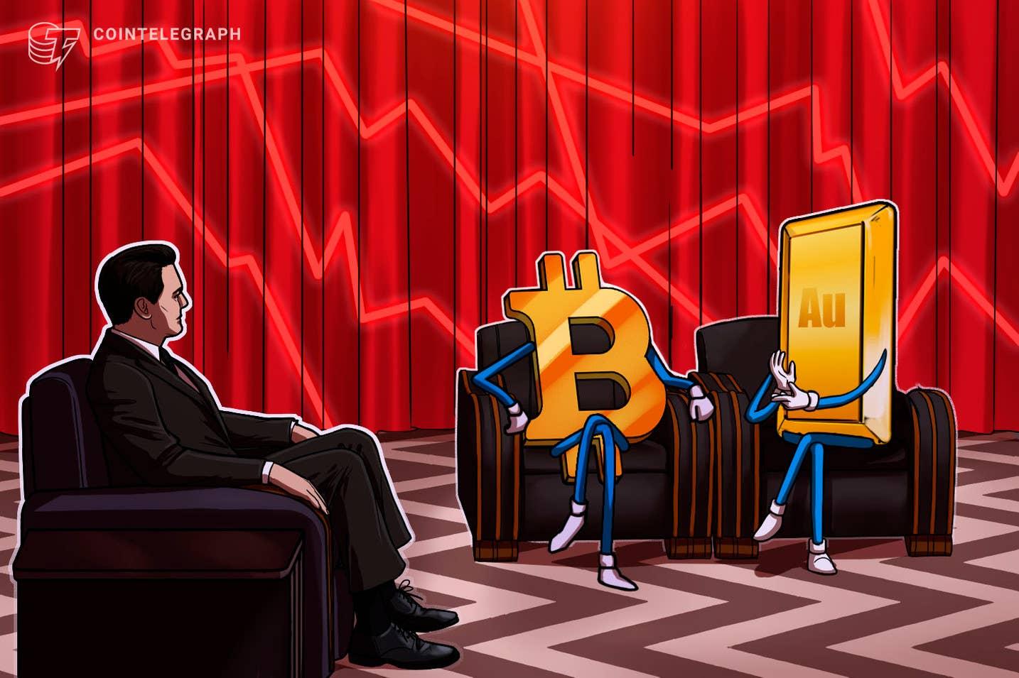 """Aukso koreliacija rodo, kad """"Bitcoin"""" smarkiai nukrito nuo 50 tūkst"""