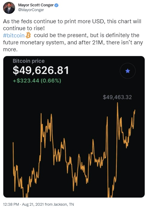 """JAV meras sako, kad """"Bitcoin"""" ir toliau kils, nes Fed toliau spausdins daugiau dolerių"""